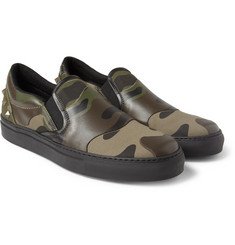 Valentino Camouflage-Print Leather Slip-On Sneakers