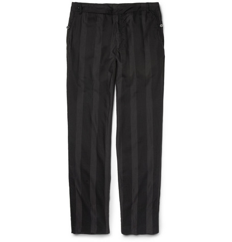 Ann Demeulemeester Striped Silk and Cotton-Blend Trousers
