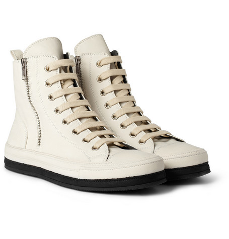 Ann Demeulemeester Leather High Top Sneakers