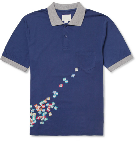 Band of Outsiders Printed Cotton-Piqué Polo Shirt
