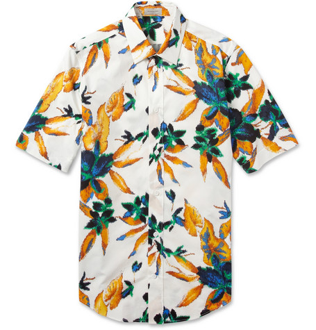Balenciaga Slim-Fit Flower-Print Cotton Shirt