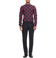 Balenciaga Slim-Fit Patterned Cotton-Poplin Shirt