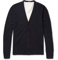 Balenciaga Silk-Back Wool Cardigan