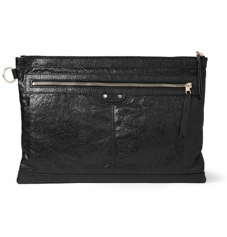 Balenciaga Large Creased-Leather Pouch
