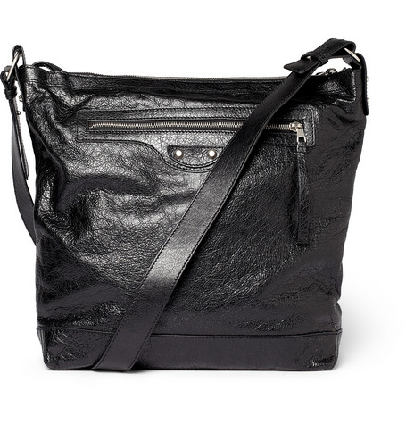 Balenciaga Day Creased-Leather Messenger Bag