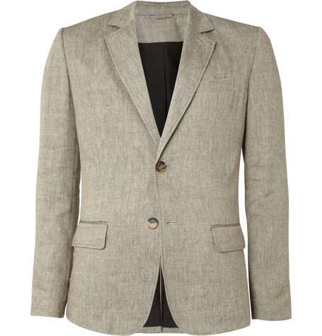 A.P.C. Beige Woven-Linen and Wool-Blend Suit Jacket