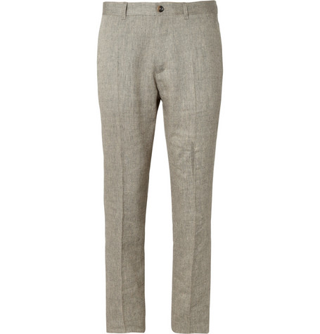 A.P.C. Beige Woven-Linen and Wool-Blend Suit Trousers