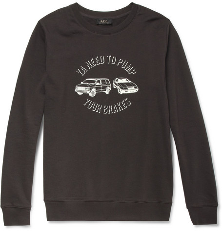 A.P.C. Printed Loopback Cotton-Jersey Sweatshirt