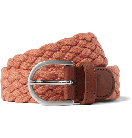 A.P.C. Leather-Trimmed Woven Belt