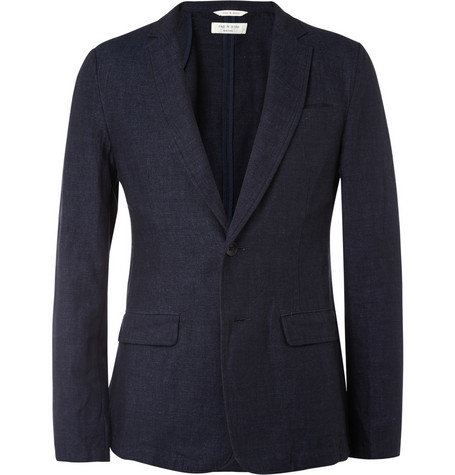 Rag & bone Unstructured Slim-Fit Cotton and Linen-Blend Blazer
