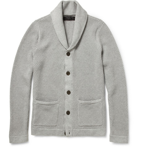 Rag & bone Avery Open-Knit Cotton Shawl-Collar Cardigan