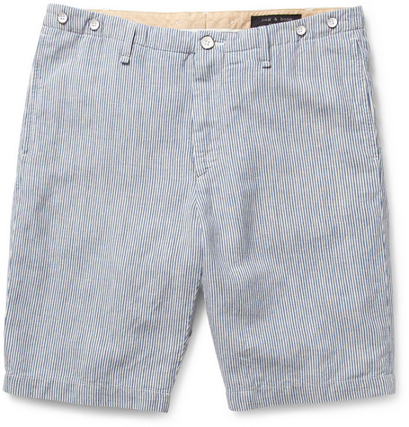 Rag & bone Beach Striped Cotton and Linen-Blend Shorts