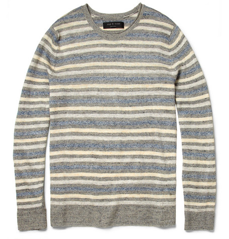 Rag & bone Sierra Striped Linen-Knit Crew Neck Sweater