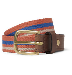 Rag & bone Boater Leather-Trimmed Striped Canvas Belt