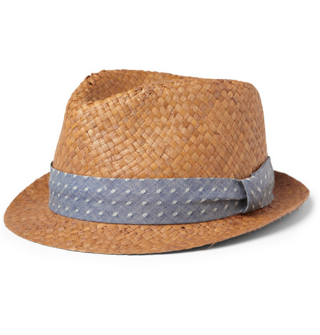 Rag & bone Cotton-Dobby Trimmed Straw Trilby Hat