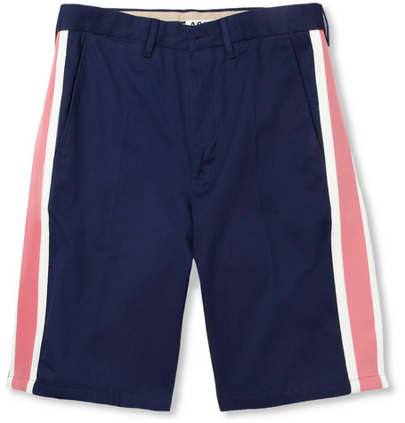 Acne Studios Gere Side-Stripe Cotton-Twill Shorts