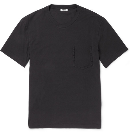 Acne Sheen Cotton Crew Neck T-Shirt