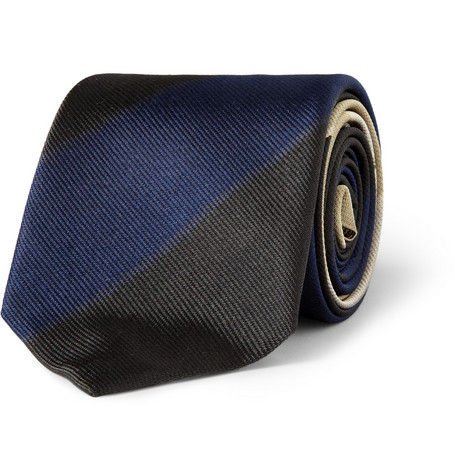 Acne Striped Woven-Silk Tie