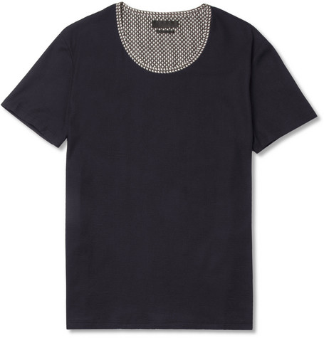 Alexander McQueen Woven-Cotton Crew Neck T-Shirt