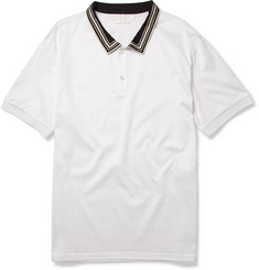 Alexander McQueen Silk-Collar Cotton-Jersey Polo Shirt