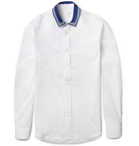 Alexander McQueen Silk-Collar Cotton-Poplin Shirt