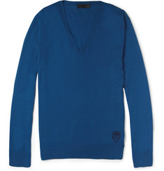 Alexander McQueen Skull-Detailed V-Neck Cashmere Sweater