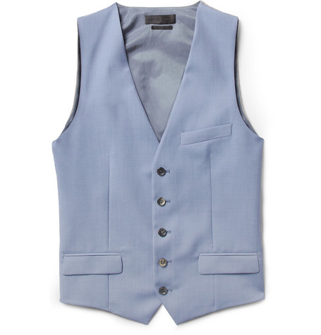 Alexander McQueen Blue Wool and Mohair-Blend Suit Waistcoat