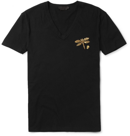 Alexander McQueen Embroidered V-Neck Jersey T-Shirt
