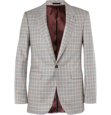 Alexander McQueen Brown Check Silk-Blend Suit Jacket