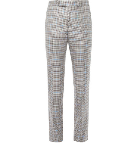 Alexander McQueen Brown Check Silk-Blend Suit Trousers