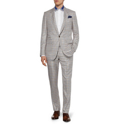 Alexander McQueen Brown and White Silk-Blend Suit Trousers