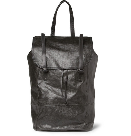Bottega Veneta Coated Linen-Canvas and Leather Backpack
