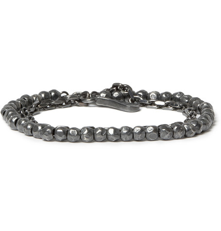 Bottega Veneta Silver-Plated Bead and Chain Bracelet