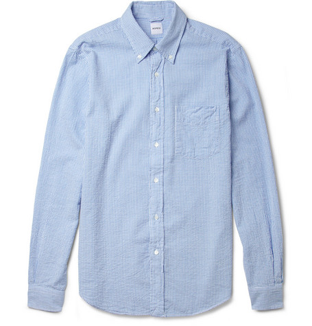 Aspesi Slim-Fit Gingham Cotton-Seersucker Shirt