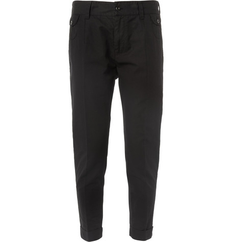 Dolce & Gabbana Cropped Cotton and Linen-Blend Trousers