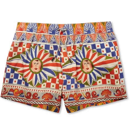 Dolce & Gabbana Short-Length Printed Cotton-Blend Swim Shorts