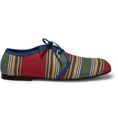 Dolce & Gabbana Striped Canvas Leather-Soled Derby Shoes