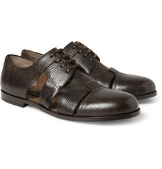 Dolce & Gabbana Cutout Burnished-Leather Derby Shoes