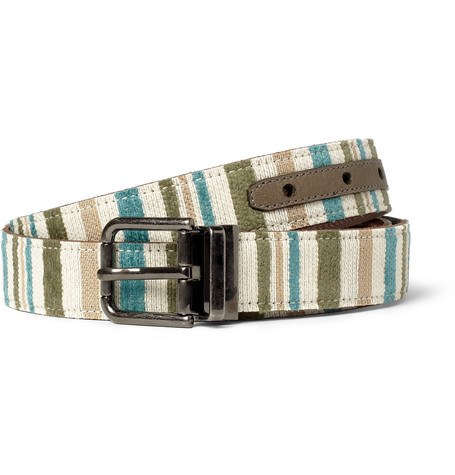 Dolce & Gabbana Striped Leather-Backed Canvas Belt