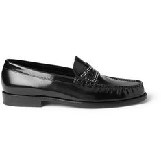 Saint Laurent Studded High-Shine Leather Loafers