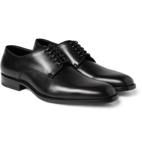 Saint Laurent Grosgrain-Trimmed Leather Derby Shoes
