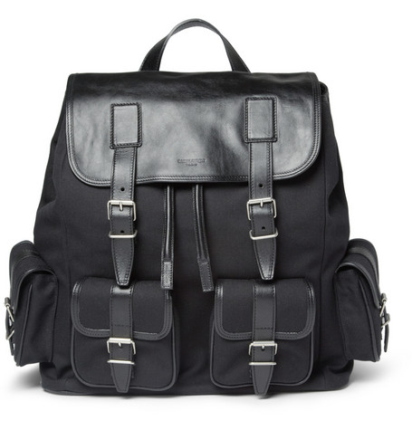 Saint Laurent Canvas and Leather Backpack