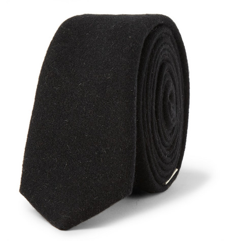Saint Laurent Signature Brushed Woven-Silk Tie