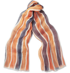 Faconnable Striped Fine-Linen Scarf