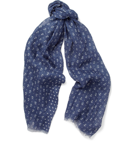 Faconnable Anchor and Star-Print Linen Scarf