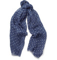 Faconnable - Anchor and Star-Print Linen Scarf