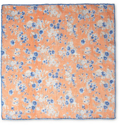 Faconnable Floral-Print Linen Pocket Square