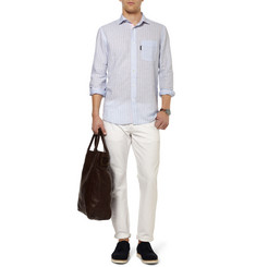 Faconnable Striped Linen and Cotton-Blend Shirt