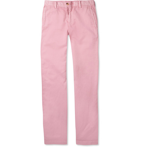 Faconnable Straight-Leg Cotton and Linen-Blend Trousers