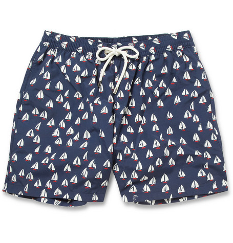 Faconnable Mid-Length Boat-Print Swim Shorts